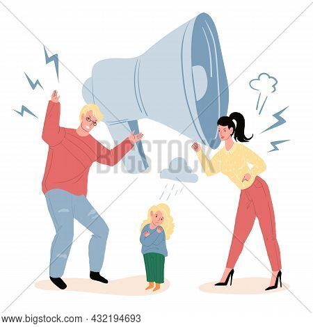 Vector Cartoon Flat Parents Characters Quarreling, While Upset Unhappy Child Watching.healthy Family