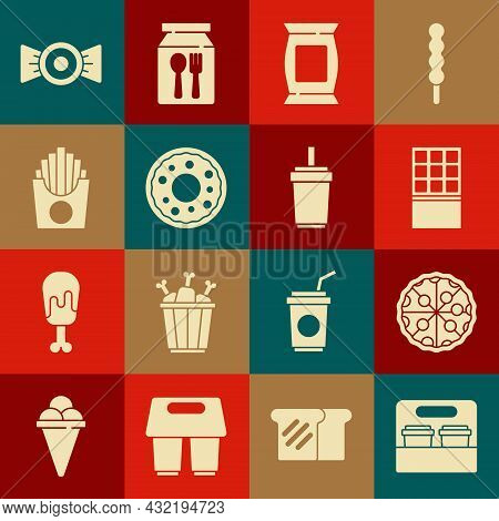 Set Coffee Cup To Go, Pizza, Chocolate Bar, Bag Or Packet Potato Chips, Donut, Potatoes French Fries