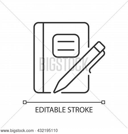 Graph Composition Notebook With Pen Linear Icon. Assignment Book. Daily Use For School Notes. Thin L