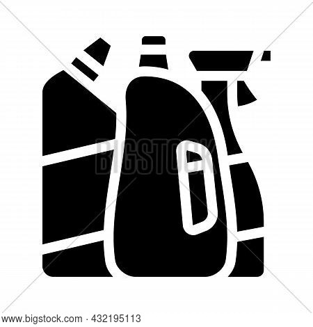 Domestic Chemical And Detergent Liquid Department Glyph Icon Vector. Domestic Chemical And Detergent