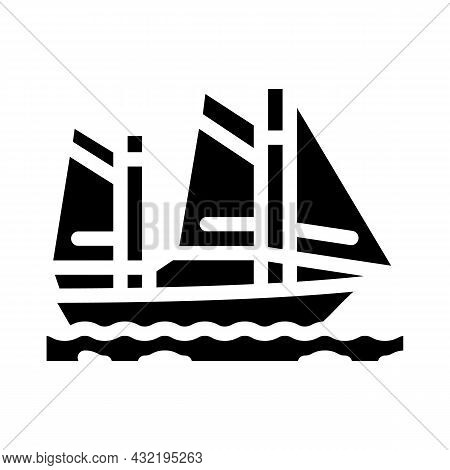 Sailing Water Sport Glyph Icon Vector. Sailing Water Sport Sign. Isolated Contour Symbol Black Illus