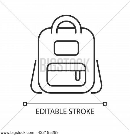 Schoolbag Linear Icon. Bag For Carrying Books And Stationery Items. Backpack For School. Thin Line C