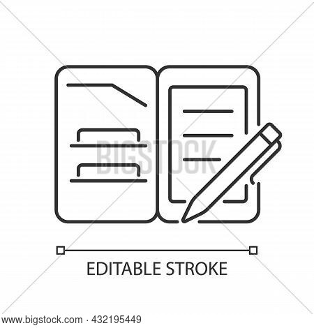 Portfolio Folder Linear Icon. Keeping Paper Documents Safely. Carrying Papers, Drawings In Case. Thi