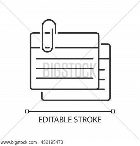Index Card Linear Icon. Small Piece For Recording Information. Flashcards For Studying. Thin Line Cu