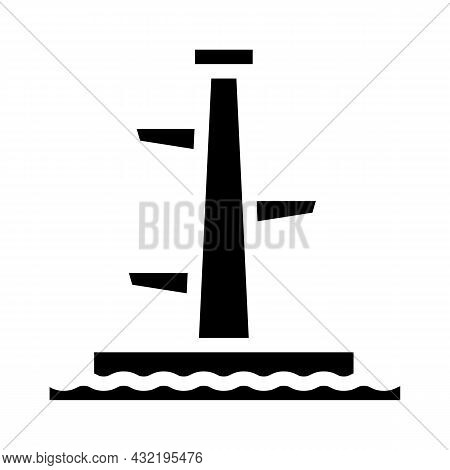 Jumping Tower Glyph Icon Vector. Jumping Tower Sign. Isolated Contour Symbol Black Illustration