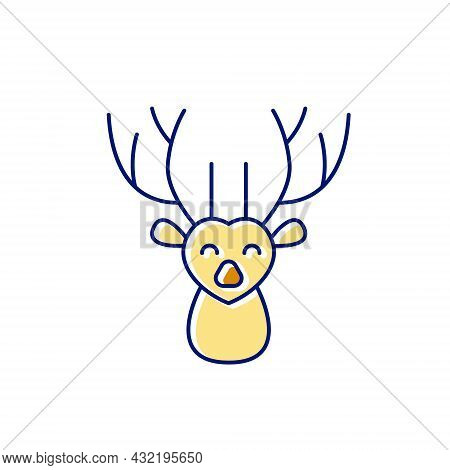 Deer Flat Icon. Taiwanese Animal. Oriental Custom. Asian Item. Color Filled Symbol. Isolated Vector