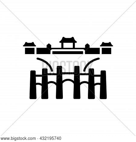 National Palace Museum Gu Gong Museum Outline Icon. Taiwan. Black Filled Symbol. Isolated Vector Sto