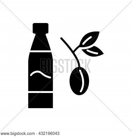 Taiwanese Plum Wine Glyph Icon. Oriental Fruit Wine Bottle. Asian Alcohol Drink Umeshu. Black Filled