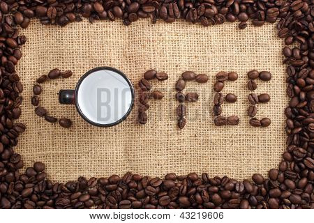 Photo of Coffee word and cup