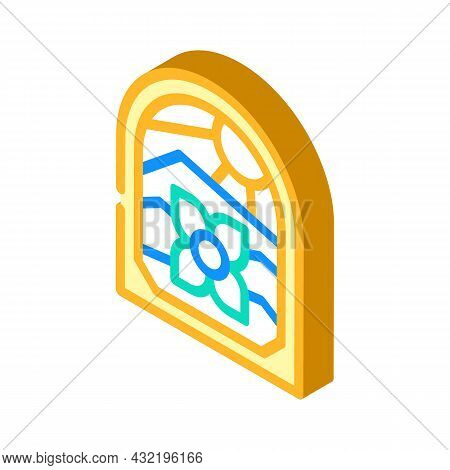 Stained Glass Isometric Icon Vector. Stained Glass Sign. Isolated Symbol Illustration