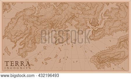 Ancient Abstract Earth Relief Old Map. Generated Conceptual Vector Elevation Map Of Fantasy Landscap