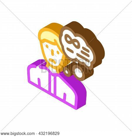 Middle Ages Crisis Man Isometric Icon Vector. Middle Ages Crisis Man Sign. Isolated Symbol Illustrat