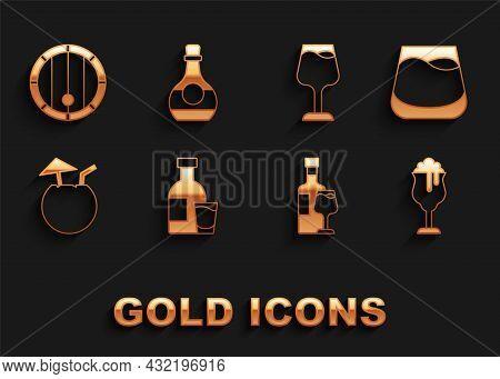 Set Bottle Of Vodka With Glass, Glass Whiskey, Beer, Wine Bottle, Coconut Cocktail, Wooden Barrel An
