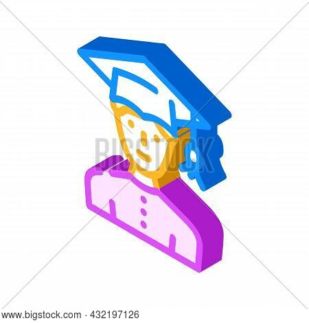 Study Male Isometric Icon Vector. Study Male Sign. Isolated Symbol Illustration