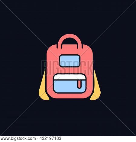 Schoolbag Rgb Color Icon For Dark Theme. Bag For Carrying Books And Stationery Items. Backpack For S