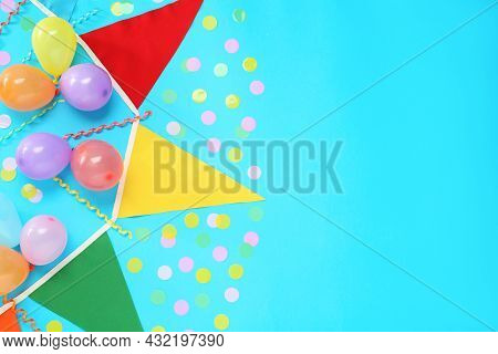 Bunting With Colorful Triangular Flags, Balloons, Streamers And Confetti On Light Blue Background, F