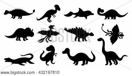 Dinosaurs Silhouettes. Black Doodle Shapes Of Prehistoric Jurassic Reptiles, Cute Ancient Predators