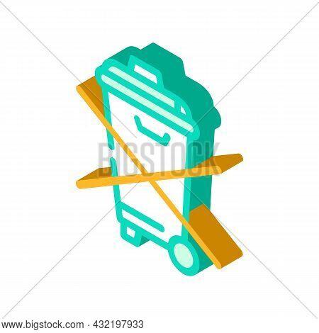 Do Not Throw Garbage Bin Isometric Icon Vector. Do Not Throw Garbage Bin Sign. Isolated Symbol Illus