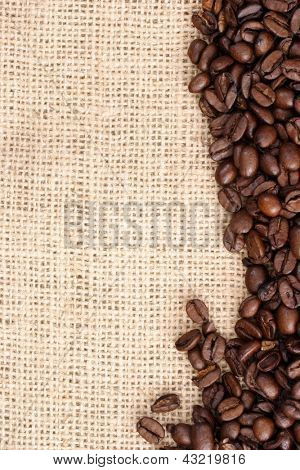 Photo of Coffee grains on sizal