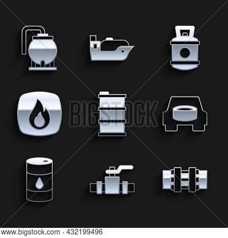 Set Barrel Oil, Metallic Pipes And Valve, Spare Wheel In The Car, Fire Flame, Propane Gas Tank And O