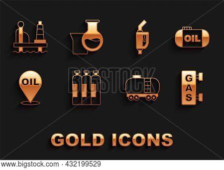 Set Industrial Gas Cylinder Tank, Oil Storage, Gas Filling Station, Railway Cistern, Refill Petrol F