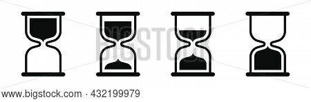 Hourglass Icons Set. Sandglass Symbol In Black. Outline Hourglass. Transparent Sand Watch. Vector Ep