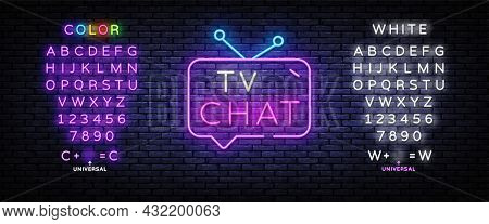 Tv Chat Neon Sign Vector. Chat Robot Template Neon Sign, Light Banner, Nightly Bright Advertising, L