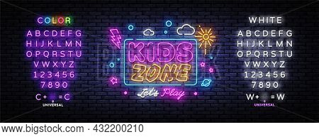 Kids Zone Neon Banner Vector Design Template. Place For Fun And Play Neon Light Banner, Design Eleme