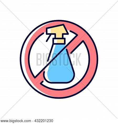 Do Not Use Cleaning Agents Rgb Color Manual Label Icon. Alcohol Is Abrasive For Lenses. Use Anti-bac