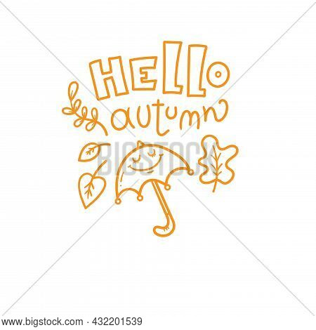 Autumn Card With Cute Cartoon Umbrella. Character With Leaves. Illustration For Children. Vector Out