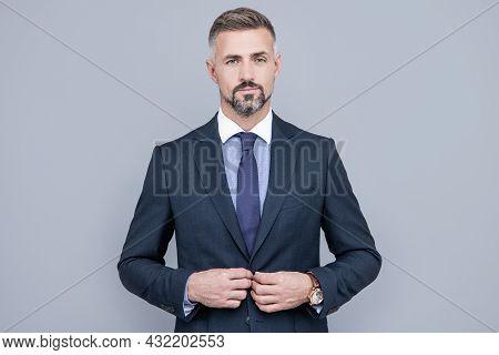 Confident Businessman Man In Businesslike Suit, Charisma