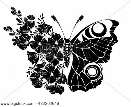 Black Flower Butterfly, Peacock Eye With Wing Decorated With Outline California Poppy And Wild Plant
