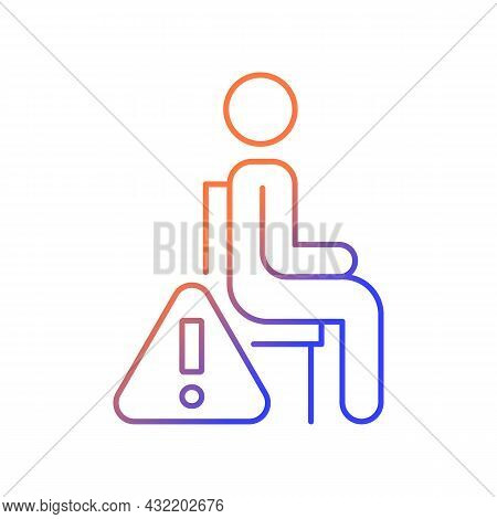Remain Seated Gradient Linear Vector Manual Label Icon. Standing May Lead To Injuries. Thin Line Col