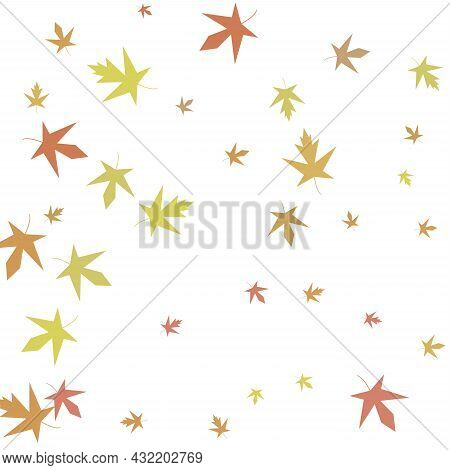 Autumn Maple Confetti. Simple Autumn Background With Maple Leaves. Vector
