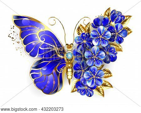 Jewelry, Blue, Sapphire, Sparkling Flower Butterfly With Wing Decorated With Blue, Precious Flowers