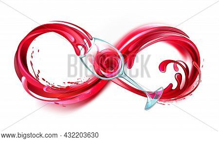 Infinity Symbol Of Continuous Stream Of Red Wine Pouring Into Glass Wine Glass On White Background.