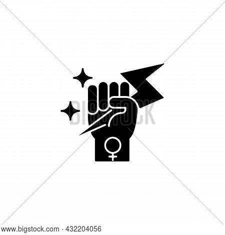 Woman Power Black Glyph Icon. Female Energy. Enhance Inner Strength. Leadership In Movement. Equal P