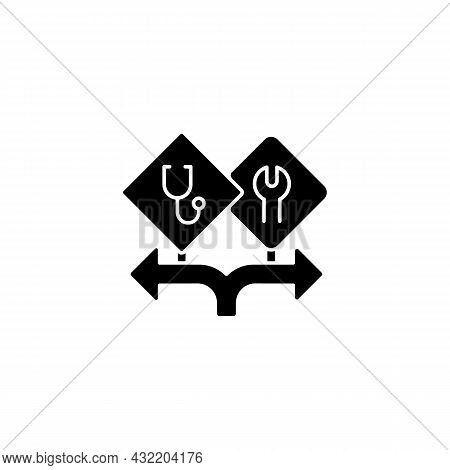 Freedom Of Choice Black Glyph Icon. Career Option For Girls. Female Empowerment. High-potential Wome