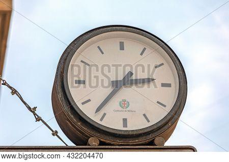 Milan, Italy - June 15, 2019: Comune Di Milano Public Clock At City Center In Milan, Italy.