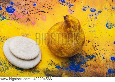 Food- Pear On A Wooden Background