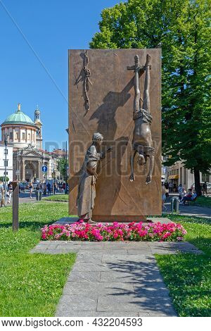 Bergamo, Italy - June 13, 2019: Bronze Wall War Memorial By Giacomo Manzu Dedicated To Italian Resis