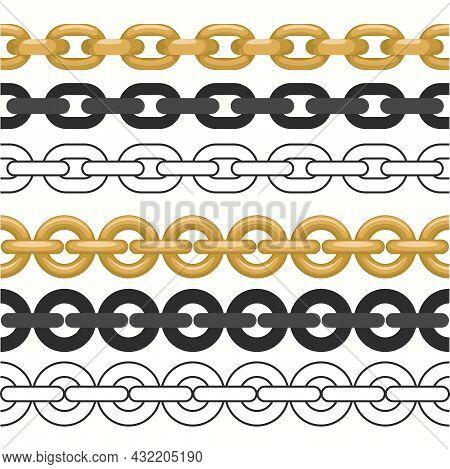 Golden Chain Set. Seamless Realistic Golden Jewelry Links. Luxury Thin Metallic Chains. Vector