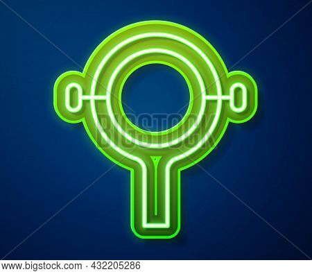 Glowing Neon Line Filter Wrench Icon Isolated On Blue Background. The Key For Tightening The Bulb Fi