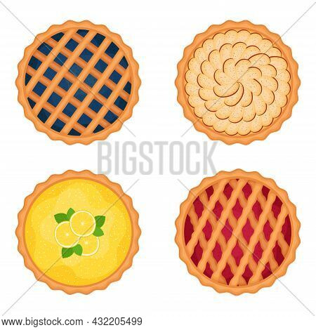 Set Of Sweet Pies On White Background, Vector Illustration