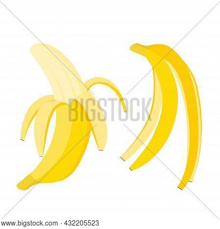 Bananas Set. Whole Open Fruit And Peel, Vector Illustration