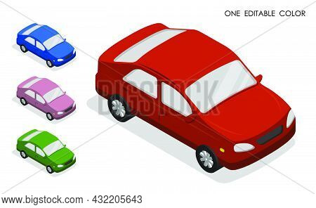 Set Of Isometric Passenger Cars High Angle View. Passenger Transportation And Small Cargo Delivery.