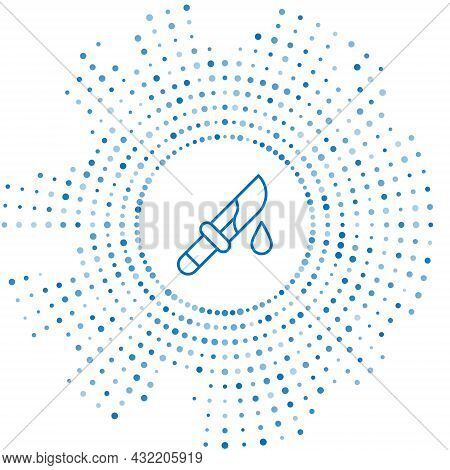 Blue Line Bloody Knife Icon Isolated On White Background. Abstract Circle Random Dots. Vector