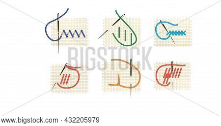 A Set Of Fragments Of Embroidery On Canvas. Embroidery On Canvas. Purple, Red, Green Thread. Thread
