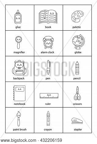 Set Of Cartoon Black And White School Supplies With Names.