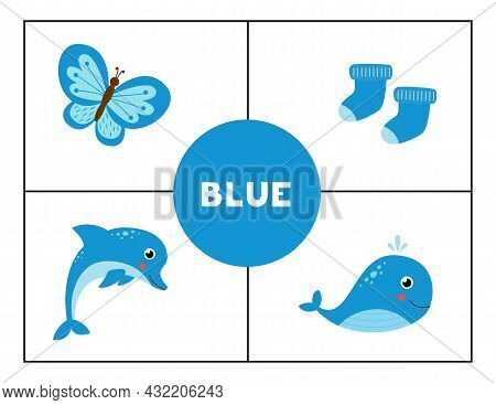 Basic Colors For Children. Flashcards For Learning Colors. Blue Color.